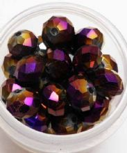 Faceted beads 8mm x 6mm. Purple x 10